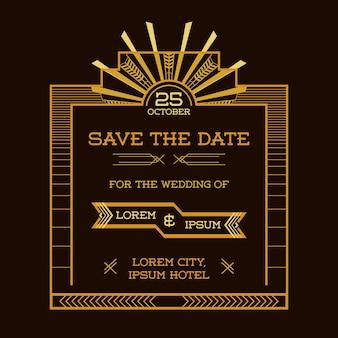Bewaar de datum bruiloft uitnodigingskaart art deco