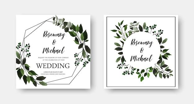 Bewaar de datum bruiloft uitnodigingskaart met bloemen groene bladeren, eucalyptus. vector botanische sjabloonrand, dekking, decoratieve uitnodiging met groen, tak