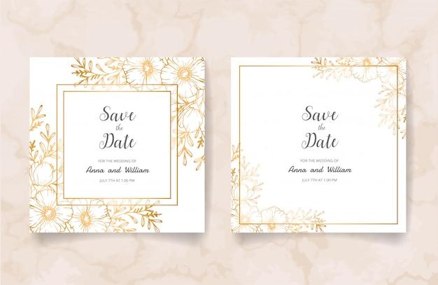 Bewaar de datum bruiloft uitnodigingskaart met gouden bloemen, bladeren en takken