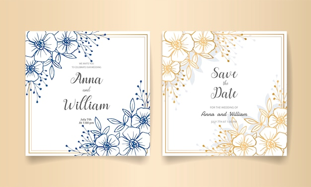 Bewaar de datum, bruiloft uitnodigingskaart met gouden bloemen, bladeren en takken.