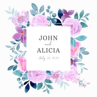 Bewaar de datum bruiloftskader met paarse bloemenwaterverf
