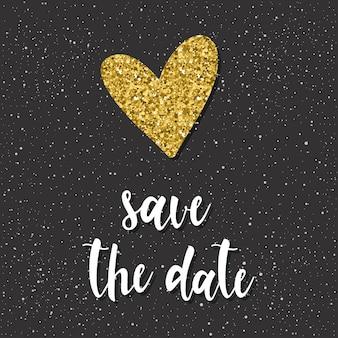 Bewaar de datum. handgeschreven letters en doodle hand getekende hart voor ontwerp t-shirt, trouwkaart, bruids uitnodiging, poster, brochures, plakboek, album enz. gouden textuur.