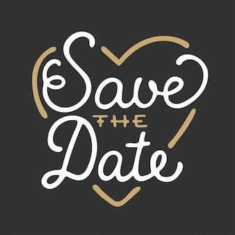 Bewaar de datum in hartvorm uitnodigingskaartsjabloon