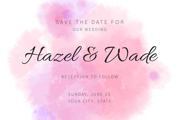 Bewaar de datum kalligrafische uitnodiging in aquarel vlek
