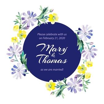 Bewaar de datum liefdeskaart met aquarel bloemenboeket. bruiloft en valentijnsdag vectorillustratie