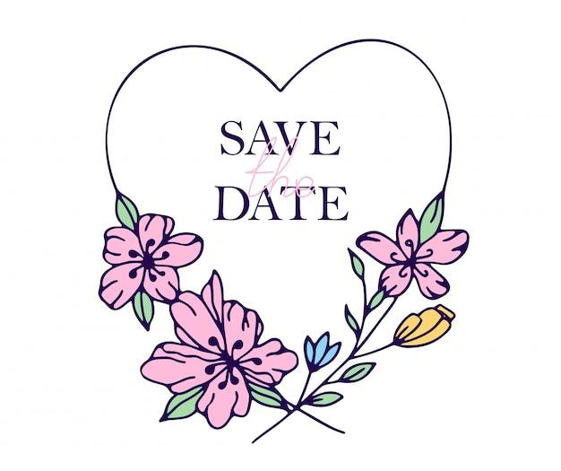 Bewaar de datum met de hand getekende harten met gestileerde bloemen