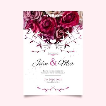 Bewaar de datum met met boeket rozen