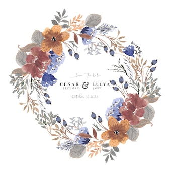 Bewaar de datum met prachtige aquarel bloemenkrans