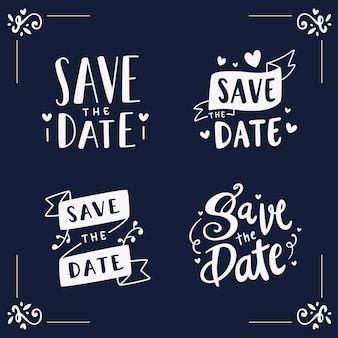 Bewaar de datum mooie belettering set