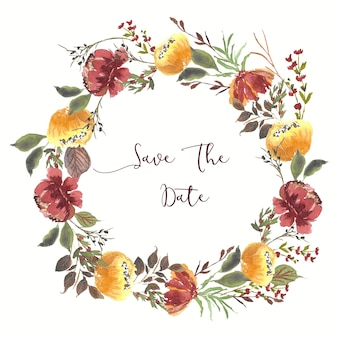 Bewaar de datum mooie bloem krans aquarel