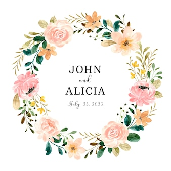 Bewaar de datum mooie roze bloemkroon met waterverf