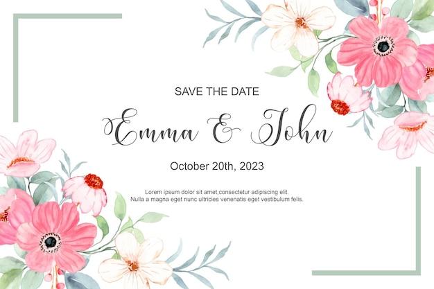 Bewaar de datum roze bloemenframe met waterverf