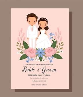 Bewaar de datum, schattige bruid en bruidegom paar met bloem bruiloft uitnodiging kaartsjabloon