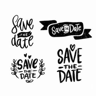 Bewaar de datum tekst kalligrafie