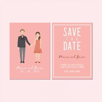 Bewaar de datum uitnodigingskaart, schattig koppel