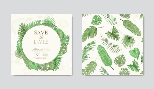 Bewaar de datum van bruiloft uitnodigingskaartsjabloon met tropisch bloemengroenboeket en naadloze patroonbundel