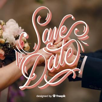 Bewaar de datum van letters op de achtergrond van de foto