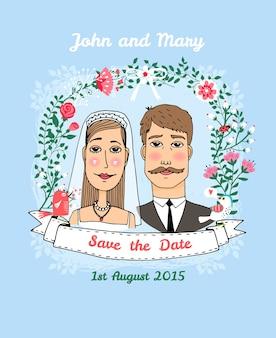 Bewaar de datum vector huwelijksuitnodiging met een bruidspaar onder een gebogen prieel van zomerbloemen en een lint met de tekst - save the date - copyspace