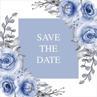 Bewaar de datum-wenskaart met blauwe bloemen