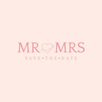 Bewaar de datumhuwelijksuitnodiging badge design vector