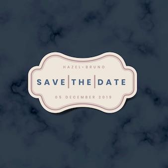 Bewaar de datumhuwelijksuitnodiging stickervector