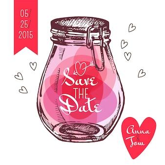 Bewaar de datumkaart. huwelijksuitnodiging. rustieke stenen pot. vintage hand getrokken schets ontwerp. vector illustratie