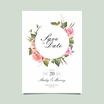 Bewaar de datumkaart met aquarel bloem vector
