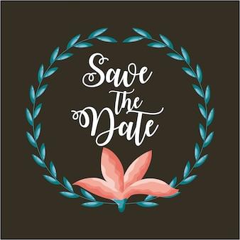 Bewaar de datumkaart met bloemen en bladeren