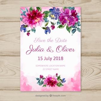 Bewaar de datumkaart met bloemen in aquarel-stijl