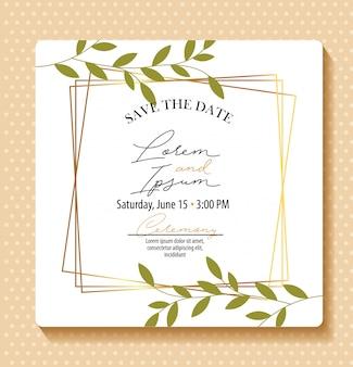 Bewaar de datumkaart met gebladerte