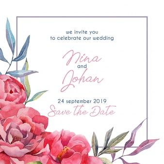 Bewaar de datumkaart met pioenenbloemen en bladeren