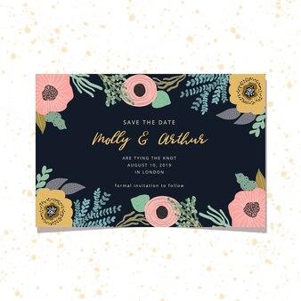 Bewaar de datumkaart met schattig bloemenkader en een donkere achtergrond