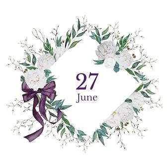 Bewaar de datumkaart met witte pioenrozen
