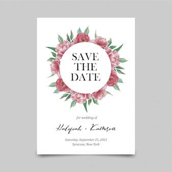 Bewaar de datumkaartsjabloon met aquarel pioenbloem decoraties