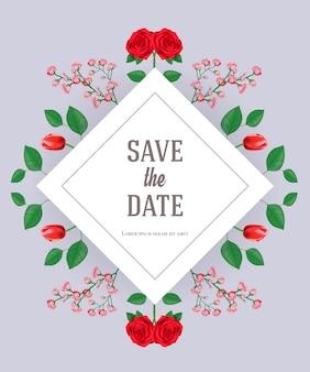 Bewaar de datumkaartsjabloon met bloemen en bladeren op een grijze achtergrond.