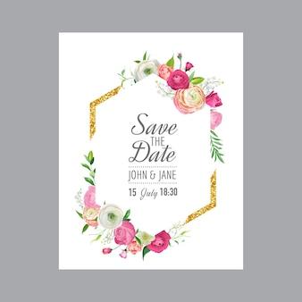 Bewaar de datumkaartsjabloon met gouden glitterframe en roze bloemen. huwelijksuitnodiging, groet met bloemenornament. vector illustratie