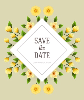 Bewaar de datumsjabloon met gele bloemen op een grijze achtergrond. handgeschreven tekst, kalligrafie.