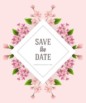 Bewaar de datumsjabloon met kersen en lila bloemen op roze achtergrond.
