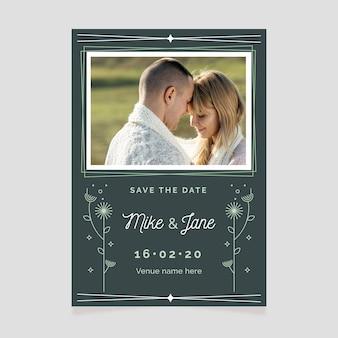 Bewaar de datumuitnodiging met afbeelding
