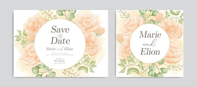 Bewaar de datumuitnodiging met elegant waterverf bloemenornament