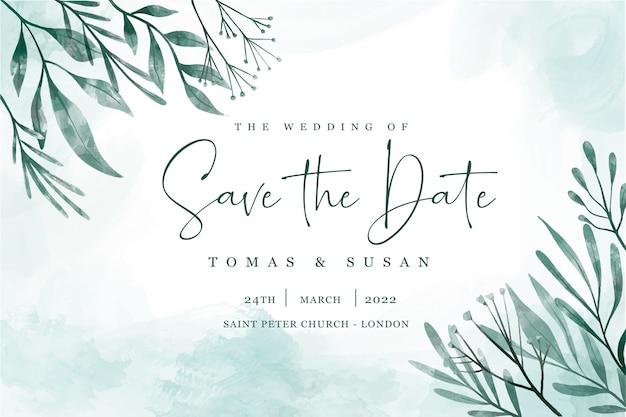 Bewaar de datumuitnodiging met elegante bladeren