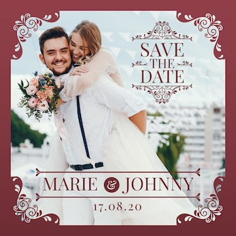 Bewaar de datumuitnodiging met foto