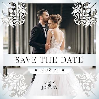 Bewaar de datumuitnodiging met fotoontwerp
