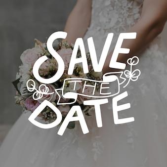 Bewaar de datumuitnodiging met fotosjabloon