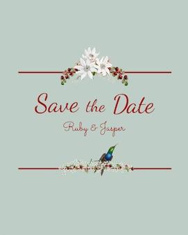 Bewaar de mockup vector van de het huwelijksuitnodiging van de datum