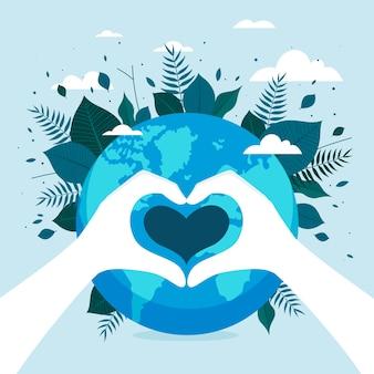 Bewaar de planeet concept illustratie met globe