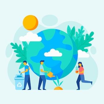 Bewaar de planeet illustratie stijl