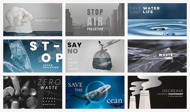Bewaar de planeet-sjablonen voor campagneset voor wereldmilieudag