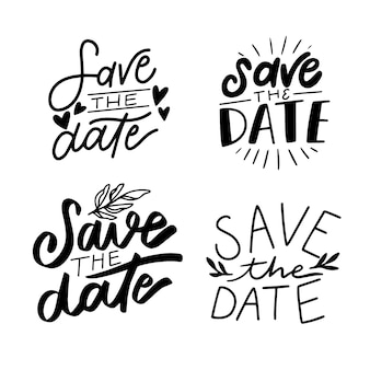 Bewaar de verzameling van de datum belettering collectie