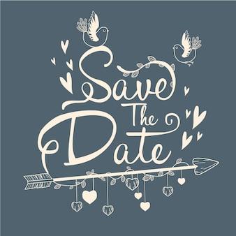 Bewaar het datum belettering concept